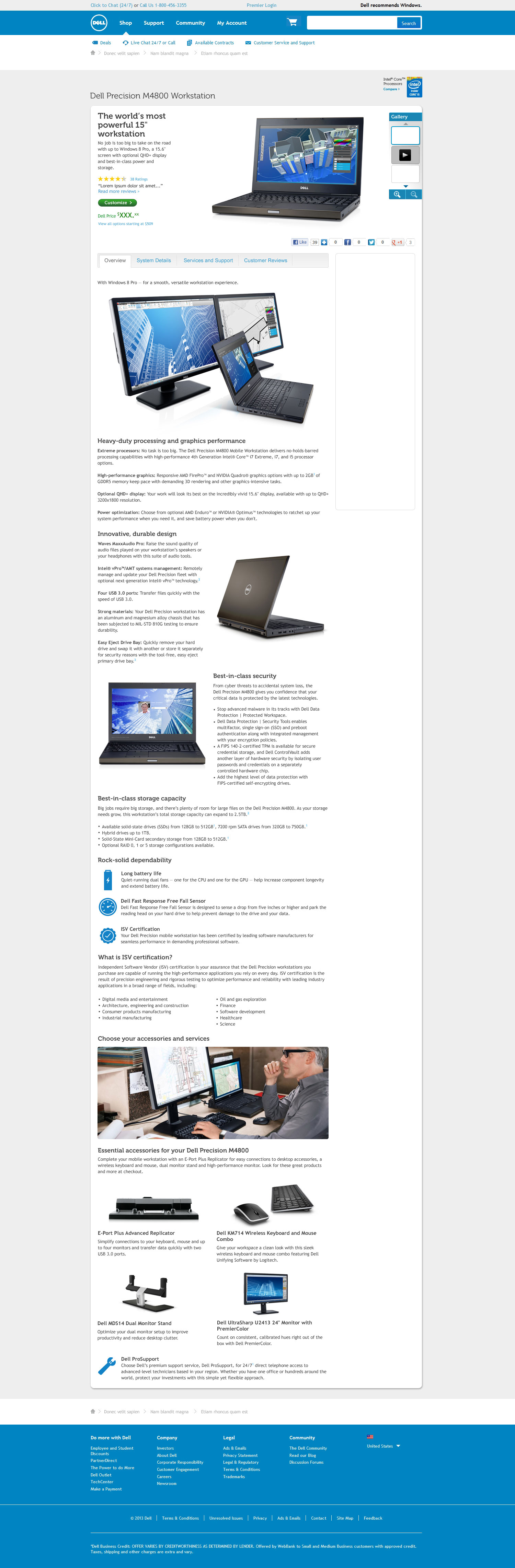 Dell Precision M4800 workstation details page